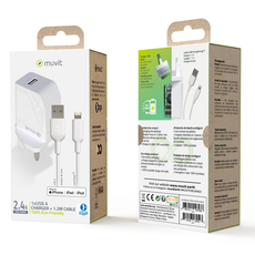Muvit ECO-Friendly Wall Charger with 1.2m Lightning Cable - White