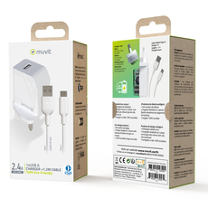 Muvit ECO-Friendly Wall Charger with 1.2m Type-C Cable - White