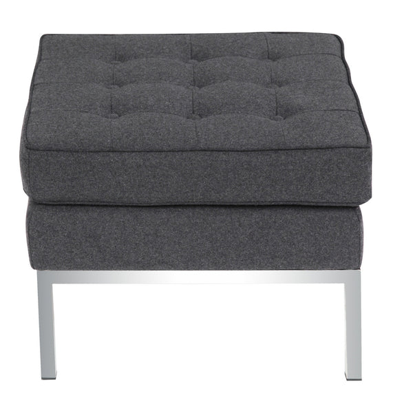 Button Ottoman in Wool - Gray