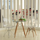 GlossWood Dining Side Chair - Clear