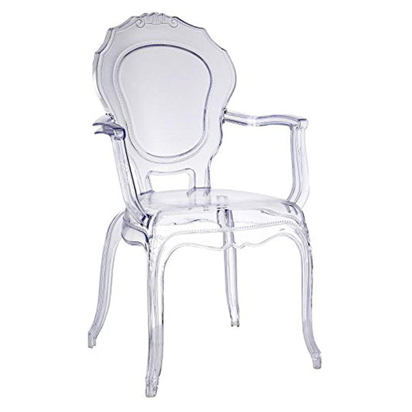 Traditional Dining Chair with Arms - Clear