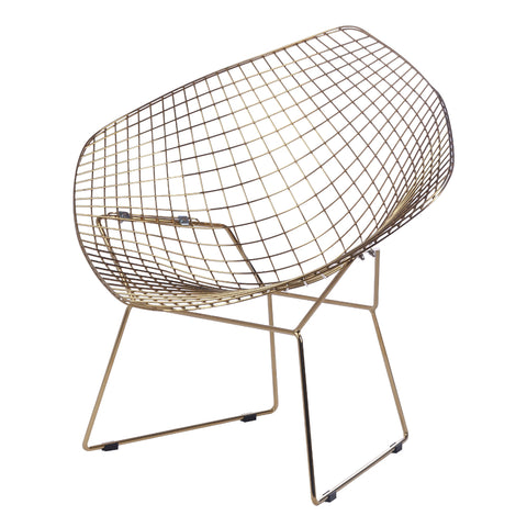Fine Mod Imports Gold Wire Diamond Chair, Black, Set of 2 Chairs