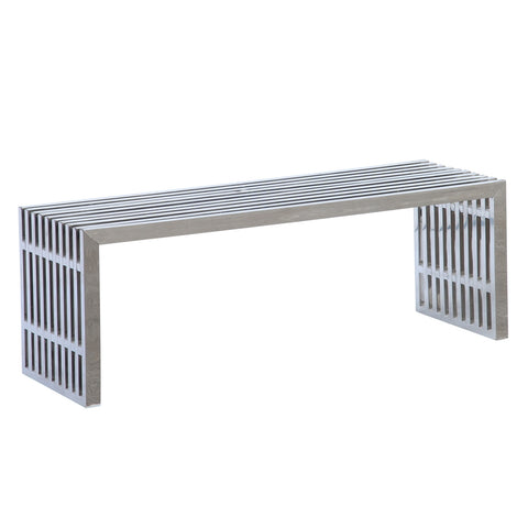 Zeta Stainless Steel Bench Long - Silver