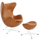 Glove Leather Lounge Chair and Ottoman