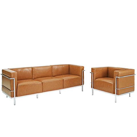 Charles Grande Sofa  and Armchair Leather Set Of 2