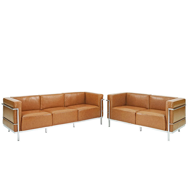 Charles Grande Sofa and  Loveseat Leather Set Of 2