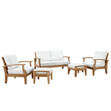 Marina 5 Piece Outdoor Patio Teak Sofa Set