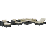 Sojourn 12 Piece Outdoor Patio Sunbrella® Sectional Set
