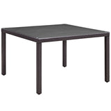 "Convene 47"" Square Outdoor Patio Glass Top Dining Table"