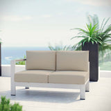 Shore Left-Arm Corner Sectional Outdoor Patio Aluminum Loveseat