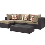 Convene 5 Piece Outdoor Patio Sectional Set