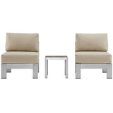 Shore 3 Piece Outdoor Patio Aluminum Sectional Sofa Set