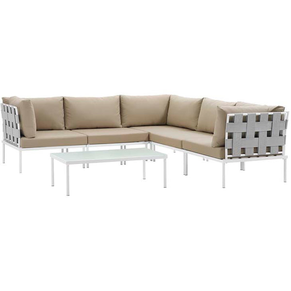 Harmony 6 Piece Outdoor Patio Aluminum Sectional Sofa Set