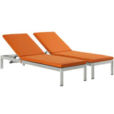 Shore Set of 2 Outdoor Patio Aluminum Chaise with Cushions
