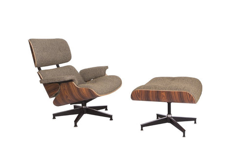 Mid-Century Lounge Chair & Ottoman - Oatmeal wool