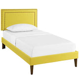 Jessamine Twin Fabric Platform Bed with Squared Tapered Legs