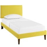 Camille Twin Fabric Platform Bed with Squared Tapered Legs