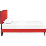 Phoebe Twin Fabric Platform Bed with Round Tapered Legs