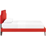 Laura Twin Fabric Platform Bed with Round Splayed Legs