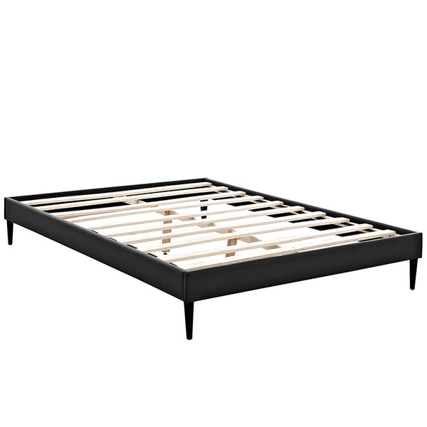 Sherry Queen Vinyl Bed Frame with Round Tapered Legs