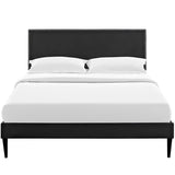 Phoebe Queen Vinyl Platform Bed with Round Tapered Legs