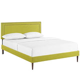 Jessamine King Fabric Platform Bed with Round Tapered Legs