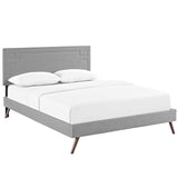 Josie Queen Fabric Platform Bed with Round Splayed Legs