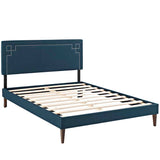 Josie King Fabric Platform Bed with Squared Tapered Legs
