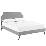 Laura Queen Fabric Platform Bed with Round Splayed Legs