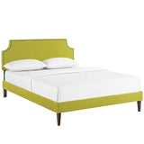 Laura Queen Fabric Platform Bed with Squared Tapered Legs