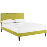Phoebe King Fabric Platform Bed with Squared Tapered Legs
