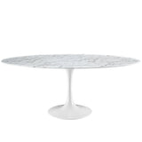 Oval shaped dining table - white