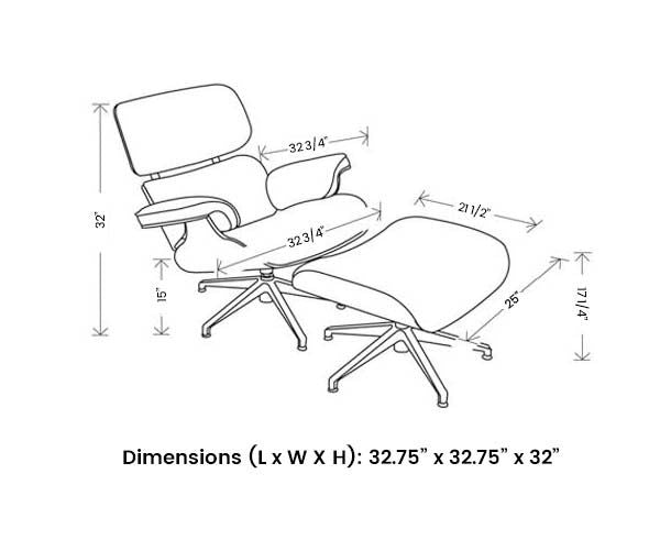 Eames Lounge Chair - Dimensions