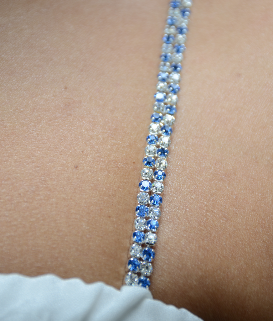 Blue and Clear Double Strand Jewel Straps