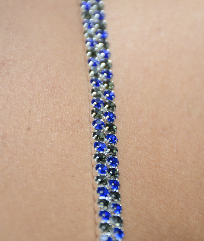 Blue and Gray Double Strand Jewel Straps