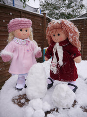 Mabel & Annie Rag Dolls  playing in the snow