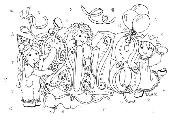 Welcome 2018 colouring page rag dolls new year party