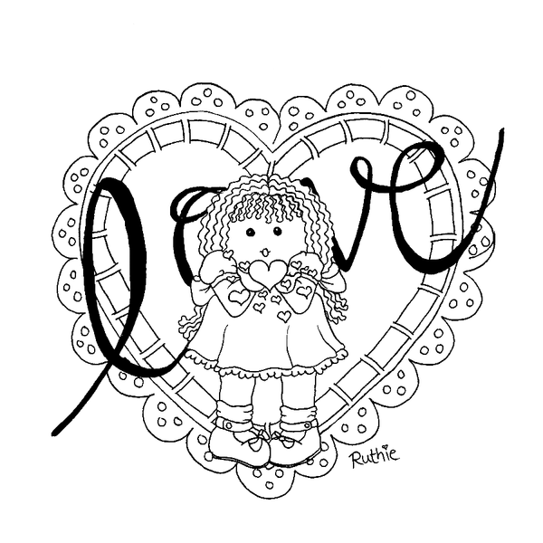 colouring page of valentines day rag doll blowing kissing