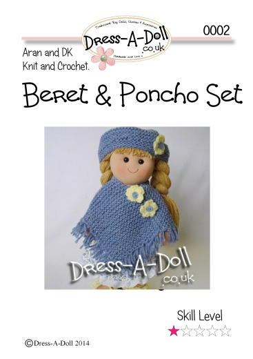 Poncho & Beret Knitting Pattern 0002