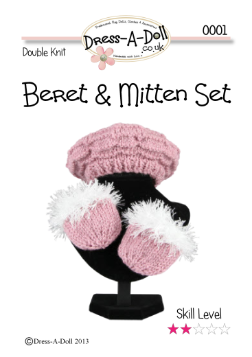 Beret & Mittens Knitting Pattern 0001