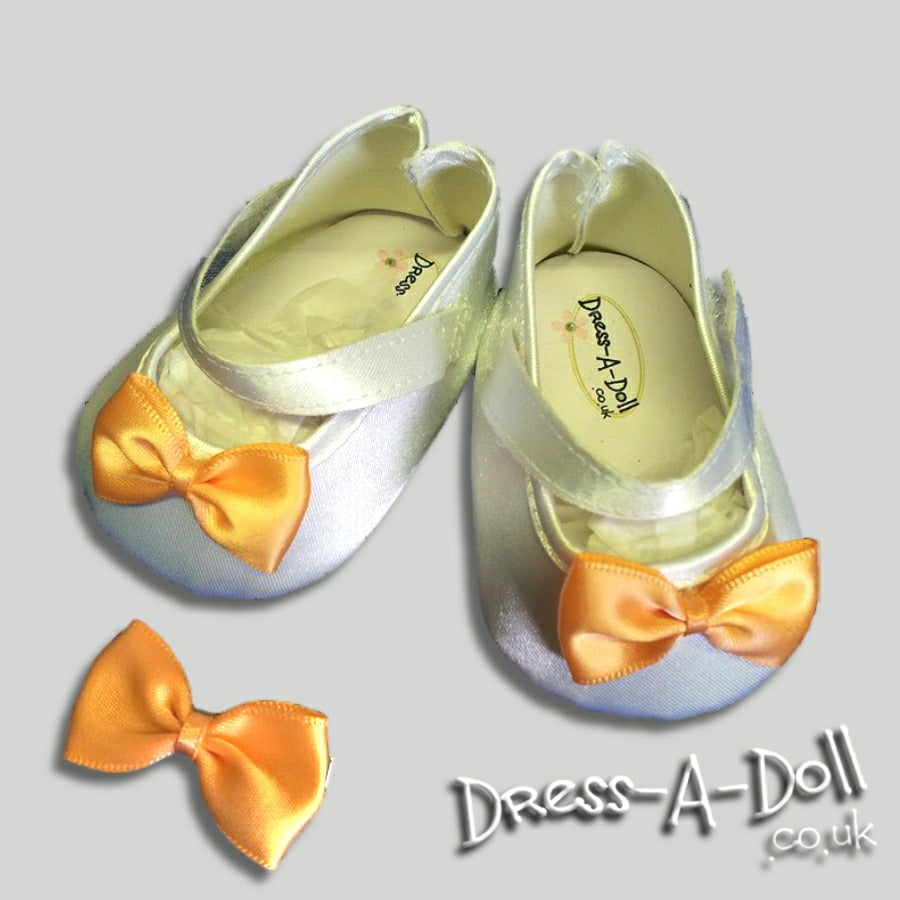 Shoes - White Mary-Jane Satin Shoes- orange bow and clip