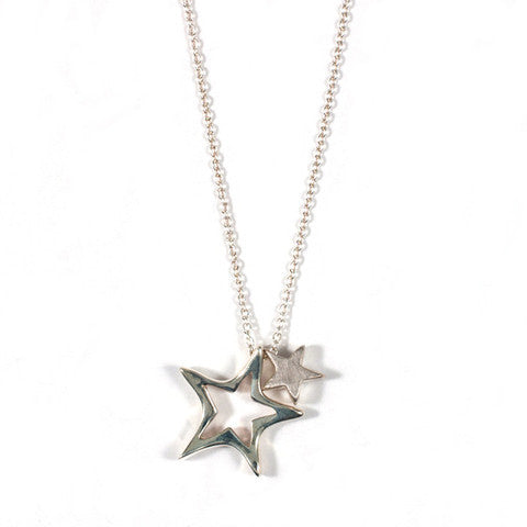 O and T Star With Chain Sideaways Necklace