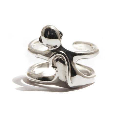 Hug Monkey Silver Ring