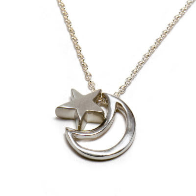Tiny Star & Open Moon Pendant Necklace
