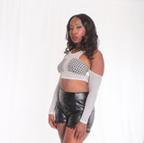Mesh Houndstooth Crop Top