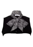 Black and White Ribbon Collar Vest