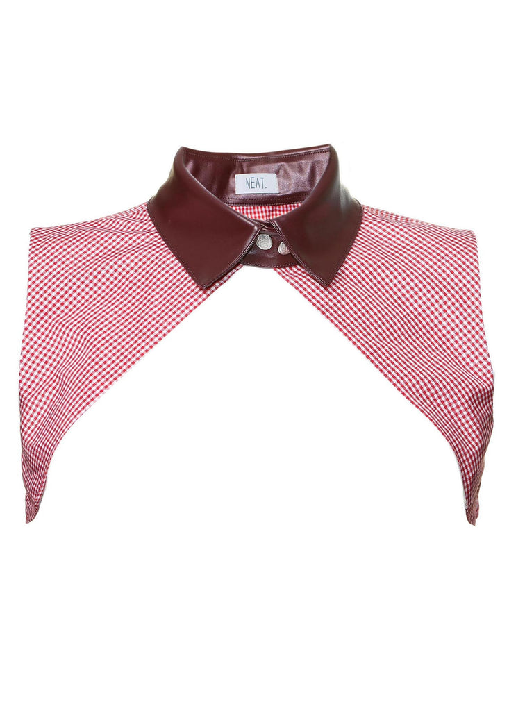 Alexa Burgundy Plaid Collar Vest Front