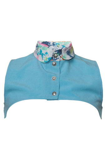 Jane Light Blue Flowery Collar Vest