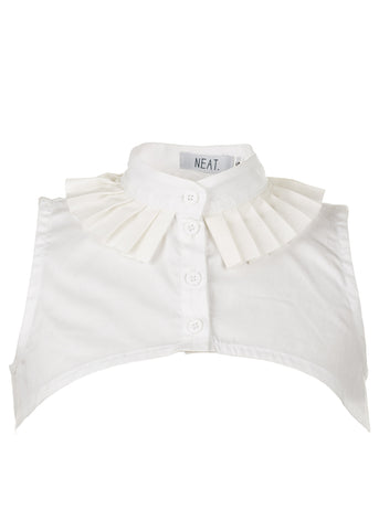 Pleated White Collar Vest