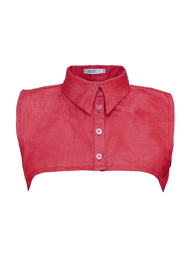 Pointed Stone Wash Red Collar Vest Front